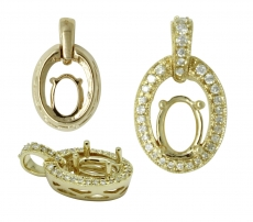 Oval 7x5mm Pendant Semi Mount in 14K Yellow Gold With Diamond Accents ( PSO140)