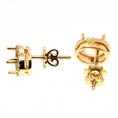 Oval 7x5mm Simple Halo Stud Earring Semi Mount in 14K Gold