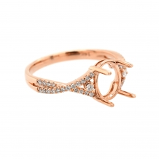 Oval 8x6mm Ring Semi Mount in 14K Rose Gold with White Diamonds (RG0547)