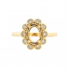 Oval 8x6mm Ring Semi Mount in 14K Yellow Gold with White Diamonds (RG0889)