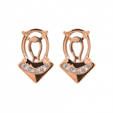 Oval 9x7mm Earring Semi Mount in 14K Rose Gold with White Diamonds