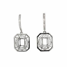 Oval 9x7mm Earring Semi Mount in 14K White Gold With Diamond Accents (ESO101)