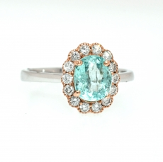 Paraiba Tourmaline 1.23 carat with Halo diamonds set in Beautiful Two Tone Rose and White Gold, Ring Setting