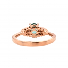 Paraiba Tourmaline Oval 0.91 Carat Ring With Diamond Accent in 14K Rose Gold