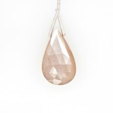 Peach Moonstone Drop Almond Shape 25x15mm Drilled Bead Single Pendant Piece