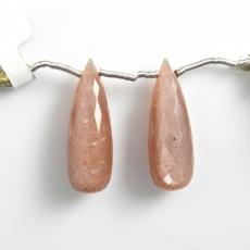 Peach Moonstone Drops Briolette Shape 28x9mm Drilled Beads Matching Pair