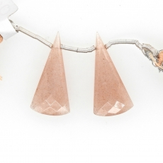 Peach Moonstone Drops Conical Shape 27x13mm Drilled Beads Matching Pair