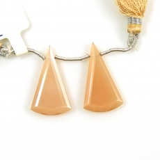 Peach Moonstone Drops Conical Shape 27x15mm Drilled Beads Matching Pair