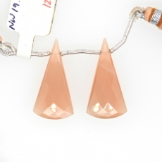 Peach Moonstone Drops Conical Shape 28x14mm Drilled Beads Matching Pair