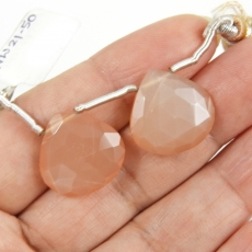 Peach Moonstone Drops Heart Shape 17x17mm Drilled Beads Matching Pair