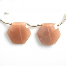 Peach Moonstone Drops Hexagon Shape 21x21mm Drilled Beads Matching Pair