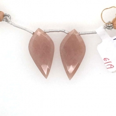Peach Moonstone Drops Leaf Shape 30x15mm Drilled Beads Matching Pair