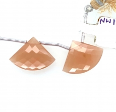 Peach Moonstone Fan Shape 21x15mm Drilled Bead Matching Pair