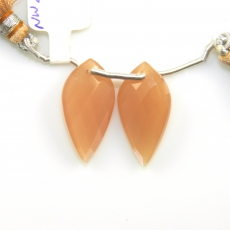 Peach Moonstone Leaf Shape 25x13mm Drilled Beads Matching Pair