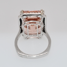 Peach Morganite 14.26 Carat with Diamonds Halo set in 14K white Gold Cocktail Ring