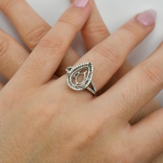 Pear 14x8mm Ring Semi Mount In 14K White Gold With White Diamonds