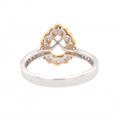 Pear 8x6mm Ring Semi Mount in 14K Dual Tone (White/Yellow) Gold With White Diamond