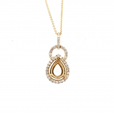Pear 9x7mm Pendant Semi Mount In 14K Gold With White Diamonds (31352)