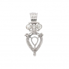 Pear Shape 10x8mm Pendant Semi Mount in 14K White Gold with White Diamonds