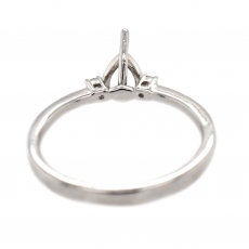 Pear Shape 7x5mm Ring Semi Mount in 14K White Gold with White Diamonds