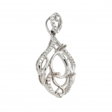 Pear Shape 9x6mm Pendant Semi Mount in 14K White Gold with White Diamonds