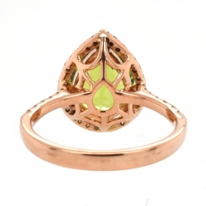 Peridot 3.29 Carat With Accented Diamond Halo Ring In 14K Rose Gold