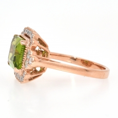 Peridot 3.30 Carat With Accented Diamond Ring In 14K Rose Gold