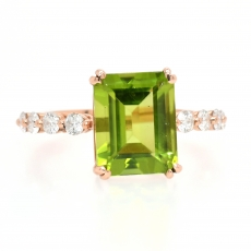 Peridot 3.80 Carat With Accented Diamond Ring In 14K Rose Gold