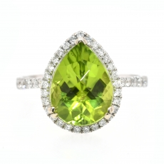 Peridot 3.86 Carat With Accented Diamond Halo Ring In 14K White Gold