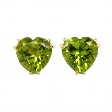 Peridot 6.12 Carat Stud Earring in 14K Yellow Gold