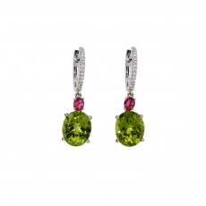 Peridot And Pink Spinel Earring In 14K White Gold