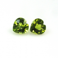 Peridot Approximately 3.75 Carats Heart Shape Approx 8mm Matching Pair