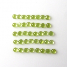Peridot Cab Round 3mm Approx  7 Carat