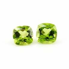 Peridot Cushion Shape 8mm Matched Pair Approx  4.18 Carat