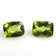Peridot Emerald Cushion 8x6mm Matched Pair Approx  3.8 Carat