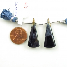 Pietersite Drops  Conical Shape 32x12mm Drilled Beads Matching Pair