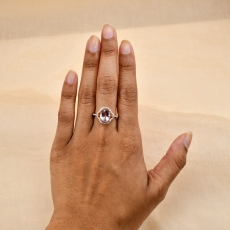 Pink Morganite Oval 2.48 Carat Ring With Diamond Accent in 14K Rose Gold
