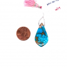 Pink Opal Copper Turquoise Drops Leaf Shape 32x18mm Drilled Beads Single Pendant Piece
