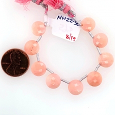 Pink Opal Drop Coin Shape 10mm Drilled Beads 9 Pieces