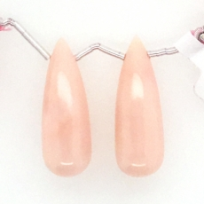 Pink Opal Drops Briolette Shape 30x11mm Drilled Beads Matching Pair