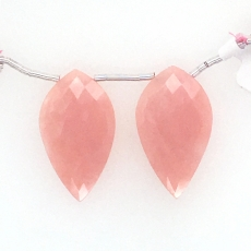 Pink Opal Drops Leaf Shape 28x16mm Drilled Beads Matching Pair