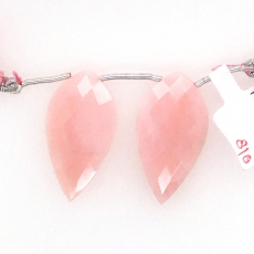 Pink Opal Drops Leaf Shape 34x18mm Drilled Beads Matching Pair