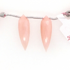 Pink Opal Drops Okra Shape 28x9mm Drilled Beads Matching Pair