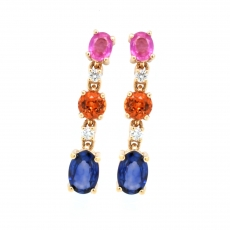 Pink, Orange, and Blue Sapphire Oval 2.25 T.C.W. With Diamond Dangle Earring In 14K Yellow Gold