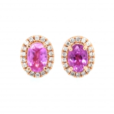 Pink Sapphire 1.18 Carat With Accented Diamond Stud Halo Earring in 14K Rose Gold