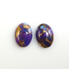 Purple Copper Turquoise Oval 14x10mm  Approx  10 Carat  Matched Pair