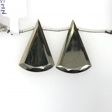 Pyrite Drops Conical Shape 27x20mm  Drilled Beads Matching Pair