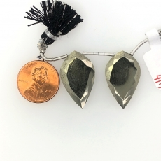 Pyrite Drops Leaf Shape 27x12mm  Drilled Beads Matching Pair