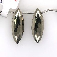 Pyrite Drops Marquise Shape 30x10mm  Drilled Beads Matching Pair