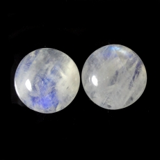 RAINBOW MOONSTONE  CABS ROUND 16MM MATCHED PAIR APPROX  25 CARAT